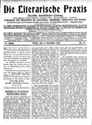 ˜Dieœ literarische Praxis vom 11.12.1909