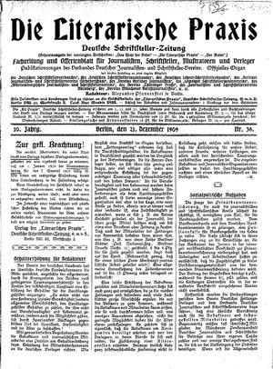 ˜Dieœ literarische Praxis vom 21.12.1909