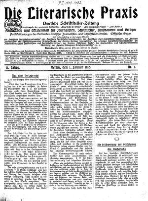 ˜Dieœ literarische Praxis on Jan 1, 1910