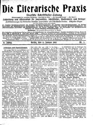 ˜Dieœ literarische Praxis vom 11.01.1910