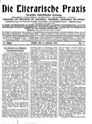 ˜Dieœ literarische Praxis on Feb 11, 1910