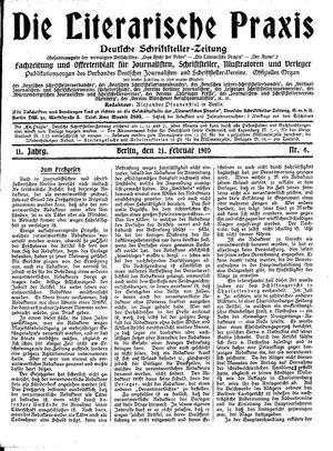 ˜Dieœ literarische Praxis vom 21.02.1910