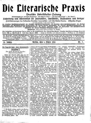 ˜Dieœ literarische Praxis vom 01.03.1910
