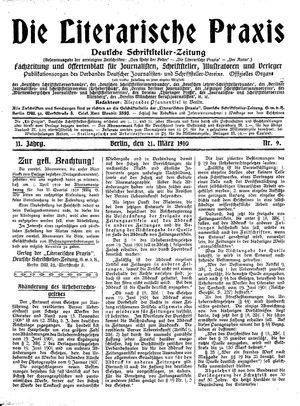 ˜Dieœ literarische Praxis vom 21.03.1910