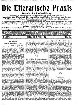 ˜Dieœ literarische Praxis vom 01.04.1910