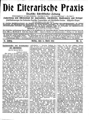 ˜Dieœ literarische Praxis vom 11.04.1910