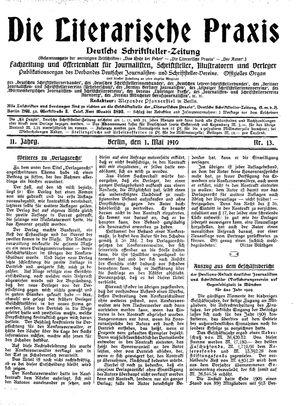 ˜Dieœ literarische Praxis vom 01.05.1910