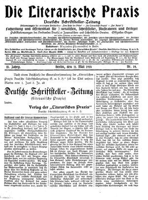 ˜Dieœ literarische Praxis vom 11.05.1910