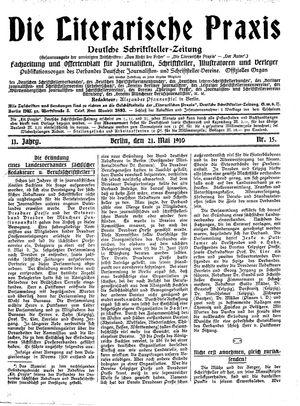˜Dieœ literarische Praxis vom 21.05.1910