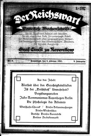 Reichswart vom 05.02.1921