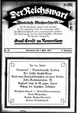 Reichswart vom 05.03.1921