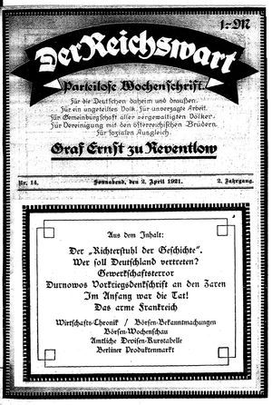 Reichswart vom 02.04.1921