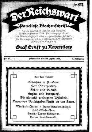 Reichswart vom 23.04.1921