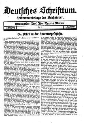 Reichswart vom 01.04.1923