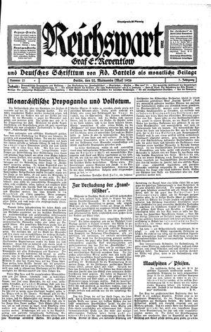 Reichswart vom 22.05.1926