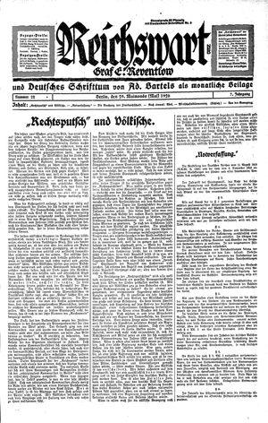 Reichswart vom 29.05.1926