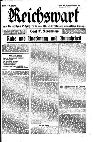 Reichswart vom 21.02.1930