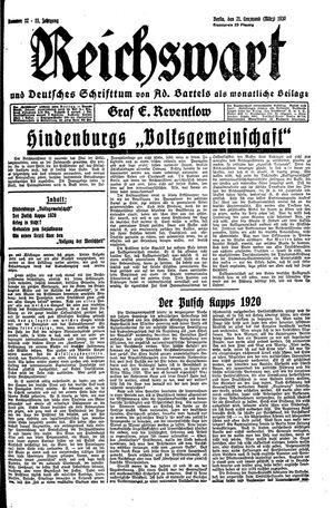 Reichswart vom 21.03.1930