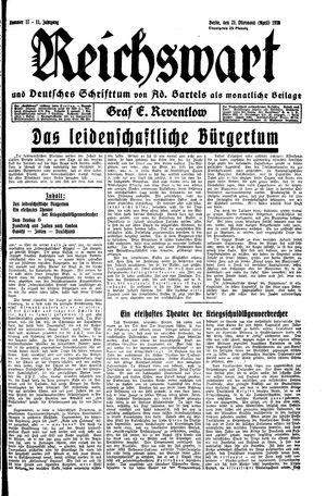 Reichswart vom 25.04.1930