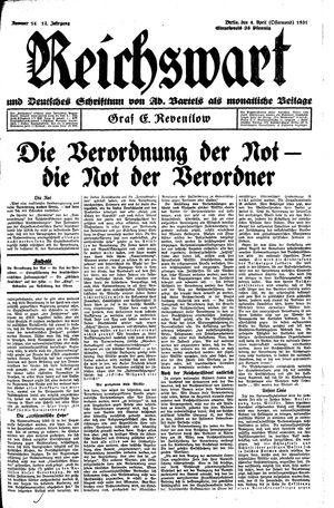 Reichswart vom 04.04.1931