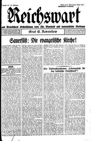 Reichswart vom 09.05.1931