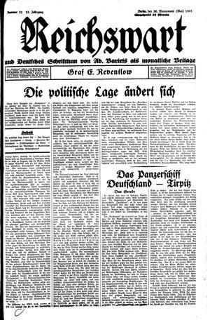 Reichswart vom 30.05.1931