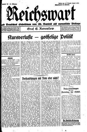 Reichswart vom 20.06.1931
