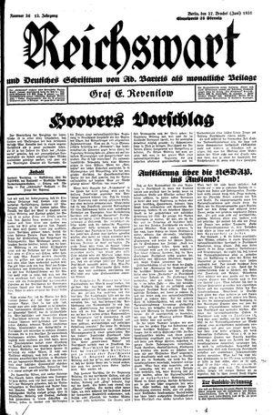 Reichswart vom 27.06.1931