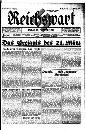 Reichswart vom 25.03.1933