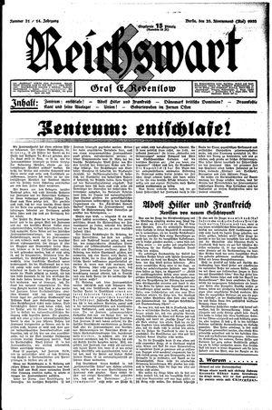 Reichswart vom 28.05.1933