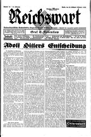 Reichswart vom 22.10.1933