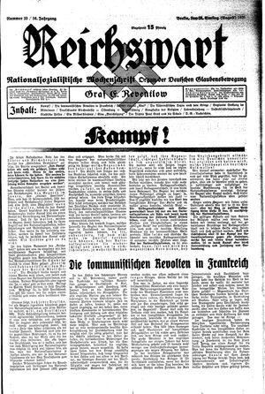 Reichswart vom 18.08.1935
