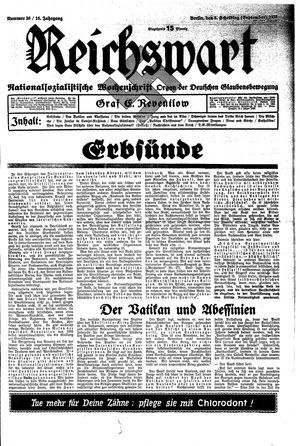 Reichswart vom 08.09.1935