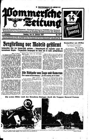 Pommersche Zeitung vom 14.02.1937