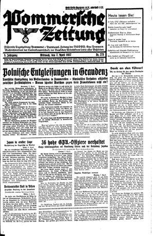 Pommersche Zeitung vom 07.04.1937