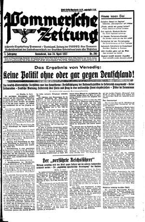 Pommersche Zeitung vom 24.04.1937