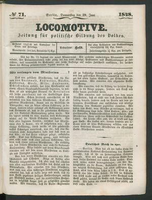 Locomotive vom 29.06.1848