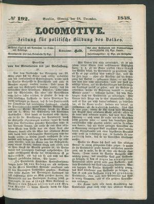 Locomotive on Dec 18, 1848