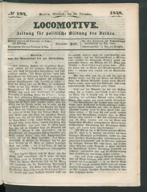 Locomotive vom 20.12.1848