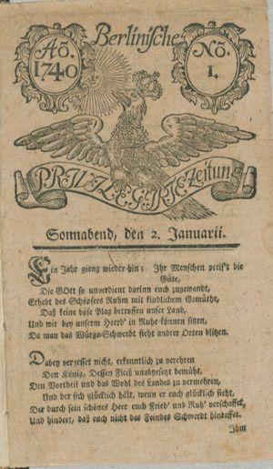 Berlinische privilegirte Zeitung vom 02.01.1740