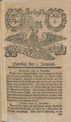 Berlinische privilegirte Zeitung vom 05.01.1740