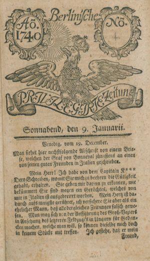 Berlinische privilegirte Zeitung vom 09.01.1740