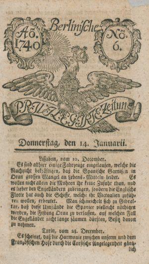 Berlinische privilegirte Zeitung vom 14.01.1740