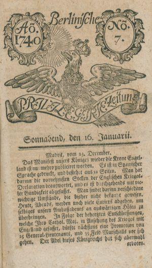 Berlinische privilegirte Zeitung vom 16.01.1740