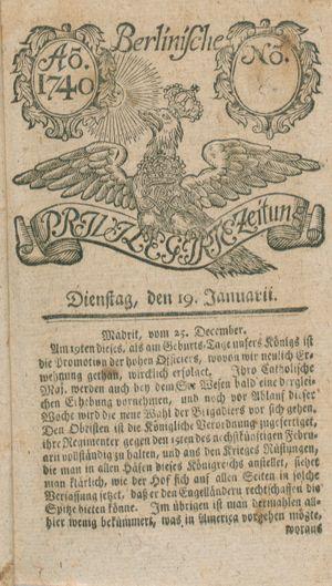 Berlinische privilegirte Zeitung vom 19.01.1740