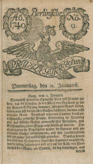 Berlinische privilegirte Zeitung vom 21.01.1740