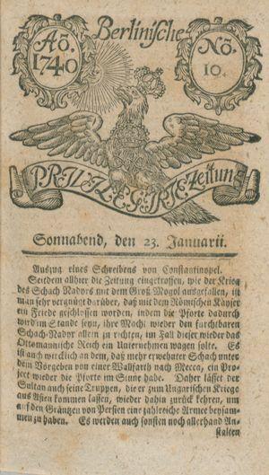 Berlinische privilegirte Zeitung vom 23.01.1740