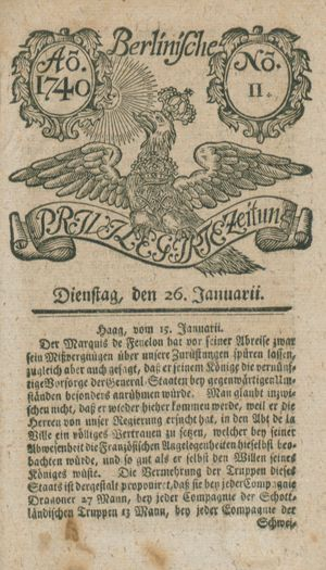 Berlinische privilegirte Zeitung on Jan 26, 1740