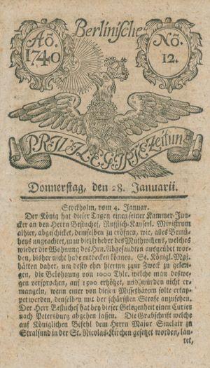 Berlinische privilegirte Zeitung vom 28.01.1740