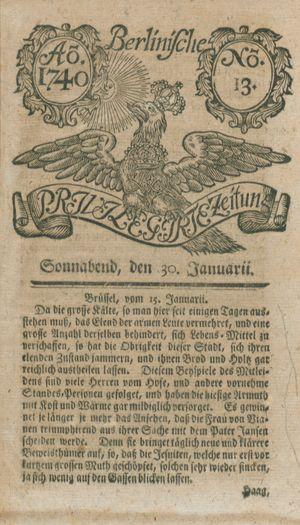 Berlinische privilegirte Zeitung vom 30.01.1740